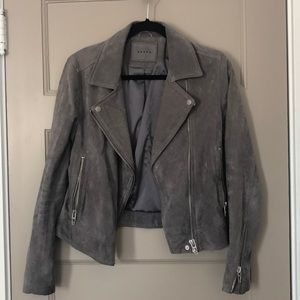 Blank NYC Suede Moto Jacket Gray